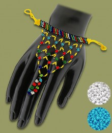 White Blue African Beaded Gloves
