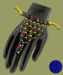 Dark Blue African Beaded Gloves