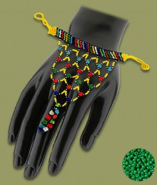 Green African Beaded Gloves