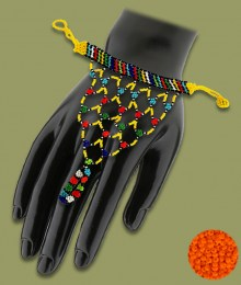 Orange African Beaded Gloves