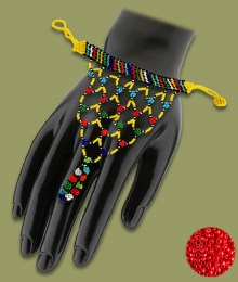 Red African Beaded Gloves