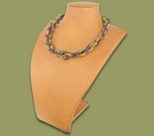 African Beaded Necklace Khanyo Copper Metallic White Gold