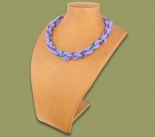 African Beaded Necklace Khanyo Lillac Blue Metallic