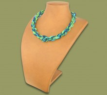 African Beaded Necklace Khanyo Lime Navy Blue Jade