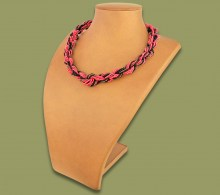 African Beaded Necklace Khanyo Pink Copper Black