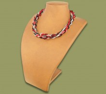 African Beaded Necklace Khanyo Red Silver Black