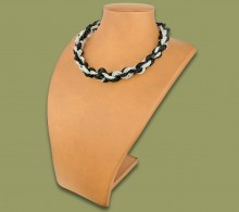 African Beaded Necklace Khanyo Silver Black