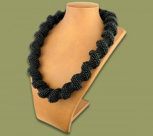 African Beaded Necklace Large Spiral Black
