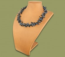 African Beaded Necklace Moyo Black Metallic