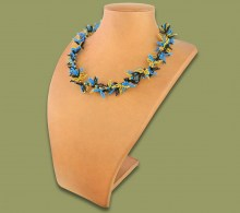 African Beaded Necklace Moyo Blue Gold Black