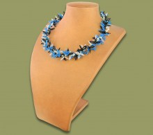 African Beaded Necklace Moyo Blue Silver Black