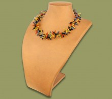 African Beaded Necklace Moyo Brown Black Gold Metallic