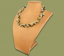 African Beaded Necklace Moyo Gold Silver Black