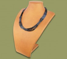 African Beaded Necklace Mvovo Metallic Black