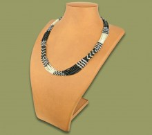 African Beaded Necklace Mvovo Silver Black
