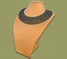 African Beaded Necklace Ntombi Black Silver