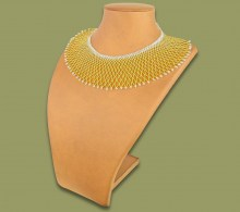 African Beaded Necklace Ntombi Gold Silver
