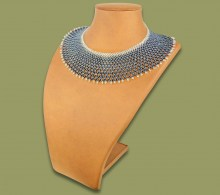 African Beaded Necklace Ntombi Metallic Silver