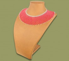 African Beaded Necklace Ntombi Pink Silver