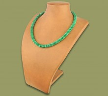 African Beaded Rope Necklace Fern Green