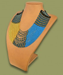 African Beaded Necklace Sibaya Blue Gold Black