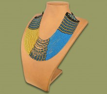 Beaded Necklace Sibaya Blue Gold Black