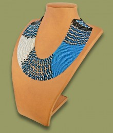 African Beaded Necklace Sibaya Blue Silver Black
