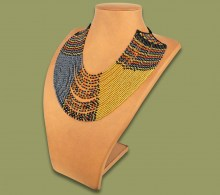 Beaded Necklace Sibaya Brown Black Gold Metallic
