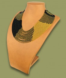 African Beaded Necklace Sibaya Gold Black