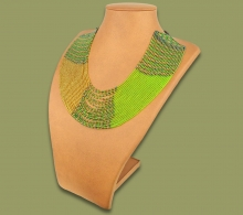 Beaded Necklace Sibaya Gold Green Metallic
