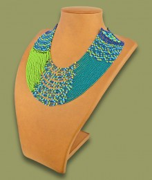 African Beaded Necklace Sibaya Lime Navy Blue Jade