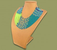 Beaded Necklace Sibaya Lime Navy Blue Jade