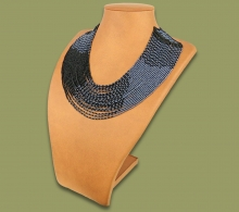 Beaded Necklace Sibaya Metallic Black