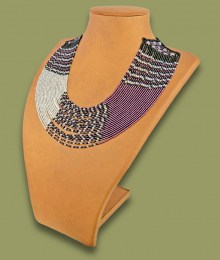 African Beaded Necklace Sibaya Purple Silver Black