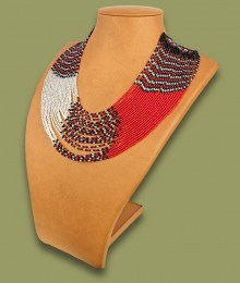 African Beaded Necklace Sibaya Red Silver Black
