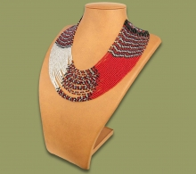 Beaded Necklace Sibaya Red Silver Black