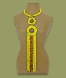 African Beaded Necklace Sizani Yellow