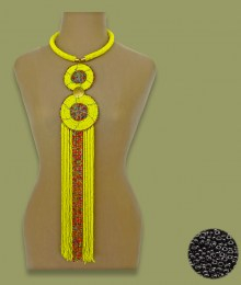 African Beaded Necklace Sizani Black