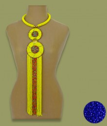 African Beaded Necklace Sizani Dark Blue