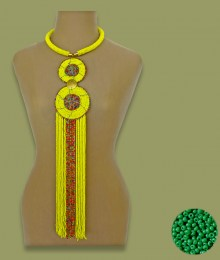African Beaded Necklace Sizani Green