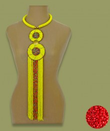 African Beaded Necklace Sizani Red