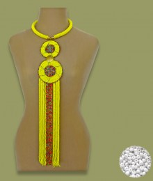 African Beaded Necklace Sizani White