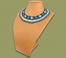 Beaded Thandi Necklace Silver Blue Black
