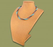 African Beaded Necklace Twisted Aqua Copper Chocolate