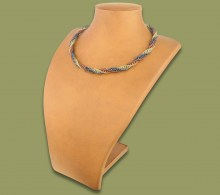 African Beaded Necklace Twisted Copper Metallic White-Gold