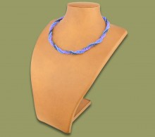African Beaded Necklace Twisted  Lillac Blue Metallic.