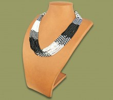 Beaded Necklace Zama Black White