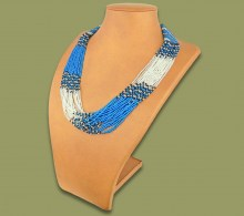 Beaded Necklace Zama Blue Black Silver
