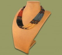 African Beaded Necklace Zama Brown Black Gold Metallic