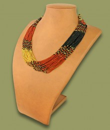 African Beaded Necklace Zama Brown Black Gold